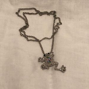 Jewelry - Silver Frog Necklace with Colored CZ